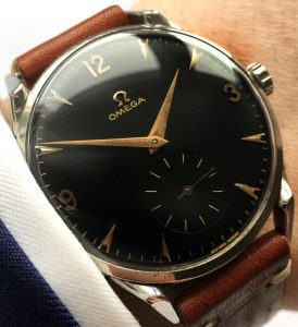 Wonderful Omega 38mm Oversize Jumbo black dial Crab Lugs
