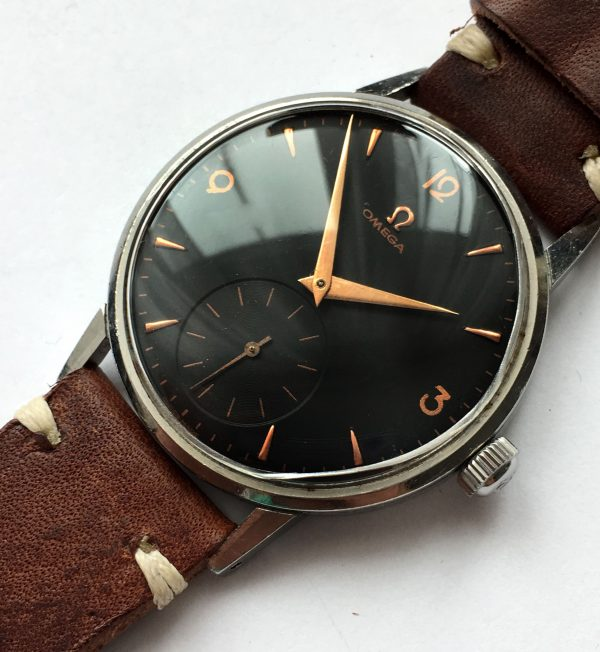 Black dialed Omega 38mm Oversize Jumbo Steel Vintage