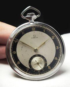[:en]Serviced Omega Pocket Watch Bullseye Dial[:de]Servicierte Omega Taschenuhr Bullseye Dial[:]
