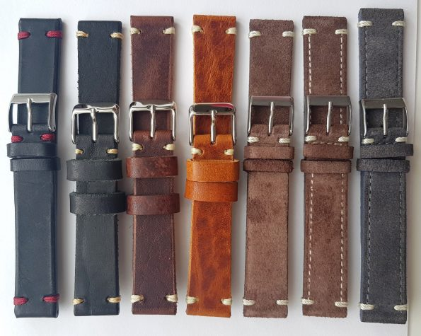 Wonderful 18mm Vintage Ecru Leather Straps hand crafted