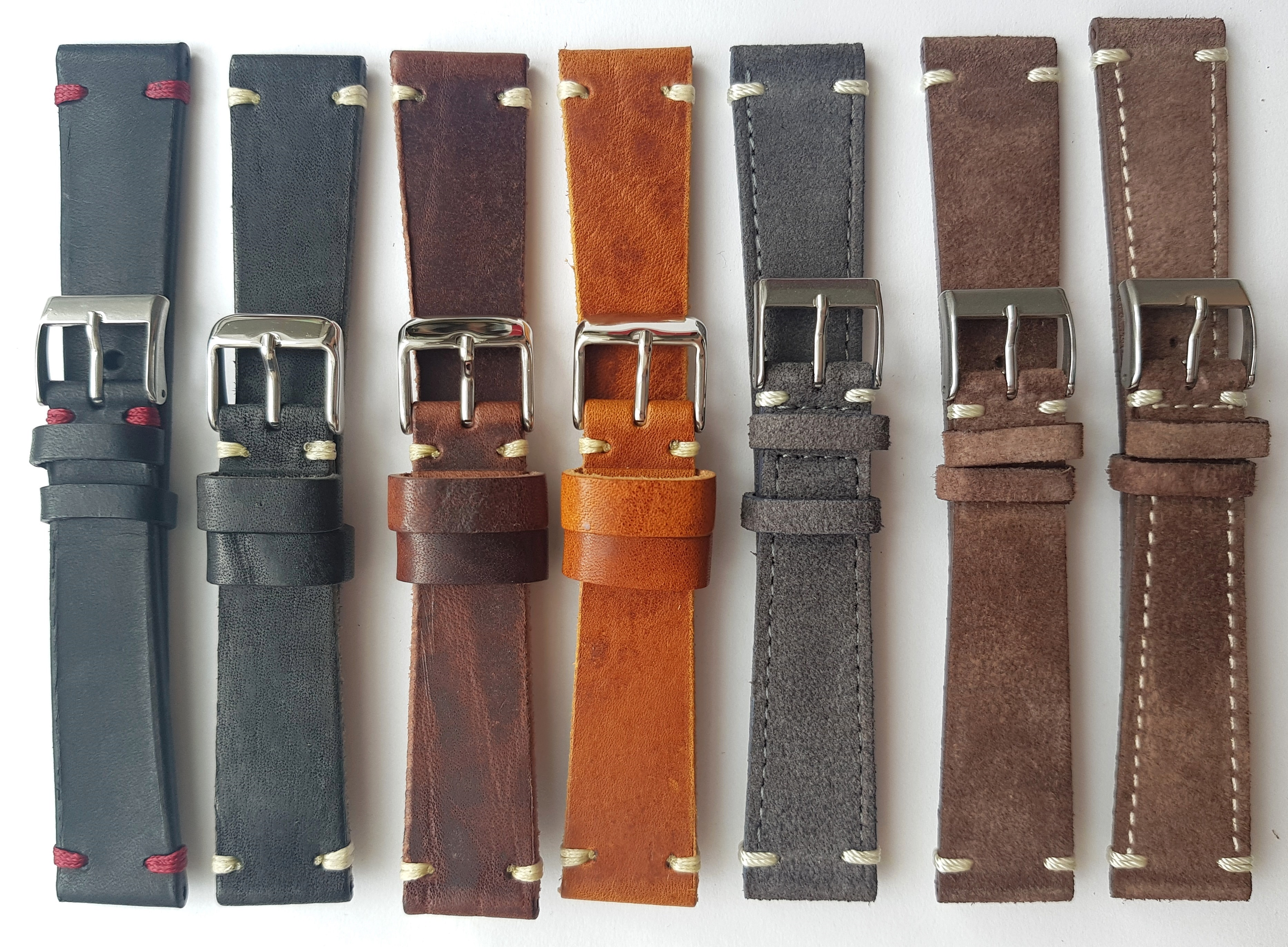 Wonderful 20mm Vintage Ecru Leather Straps hand crafted