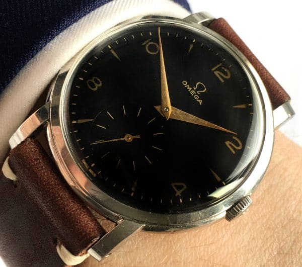 Fully Restored Omega 38mm Oversize Jumbo Vintage Black Dial