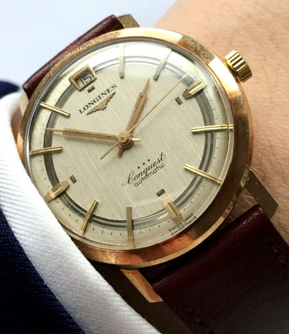 Rare Longines Heritage Conquest Solid Gold Linen Dial