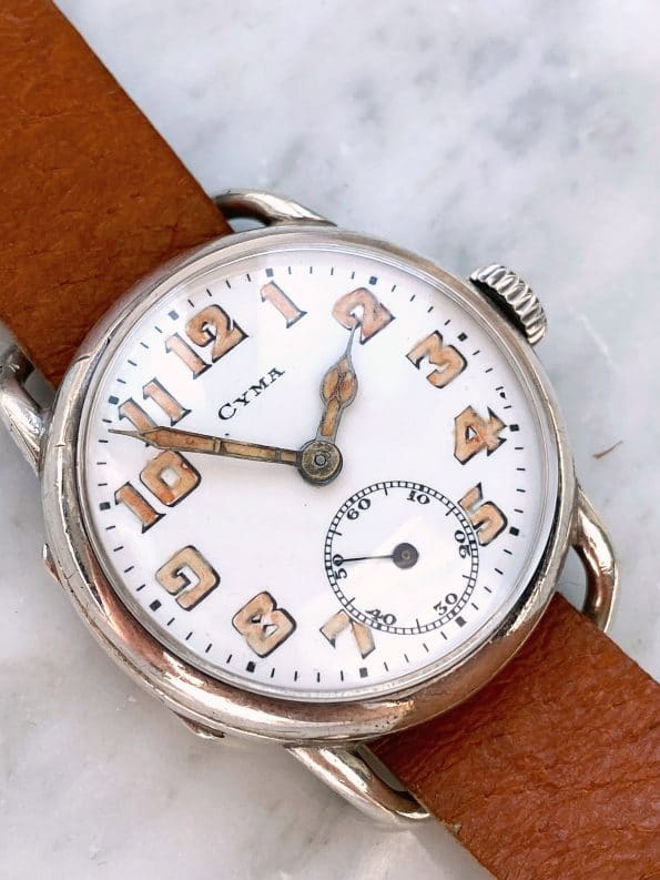 Early Cyma watch in rare Solid Siver Case