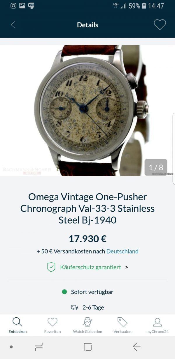 Vintage Omega Solid Gold Jumbo 38mm 33.3 Chronograph