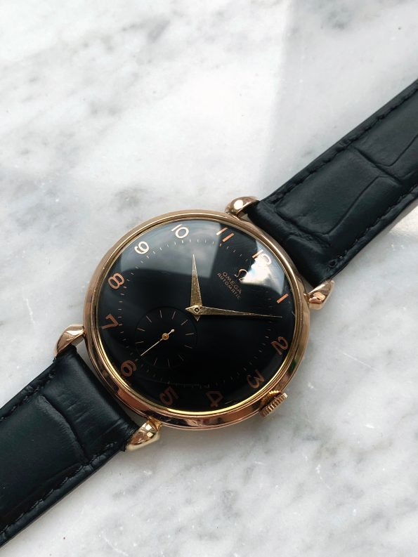 Rose Gold plated Omega 37mm Automatic Bumper restored Black dial teardrop lugs