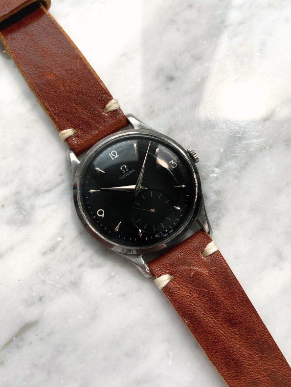 Vintage Omega Oversize Jumbo Black Restored Explorer Dial ref 2609