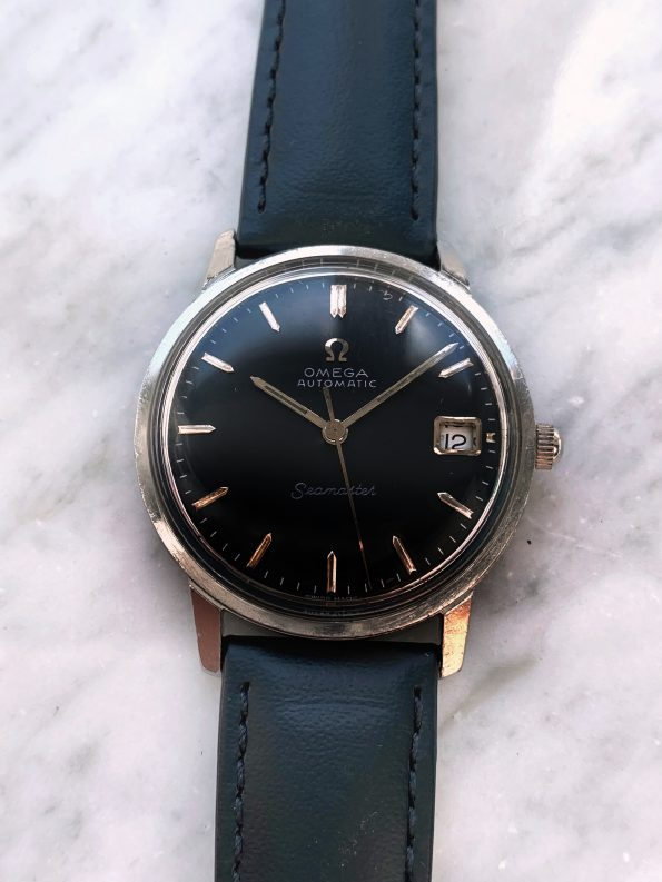 Serviced Omega Seamaster Automatic Vintage Black Restored Dial Date 166.002