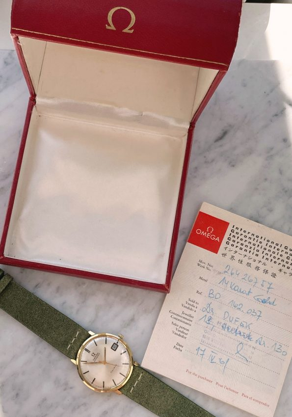 Beautiful Omega Geneve Automatic Date Vintage Solid Gold 14ct Full Set Box Papers