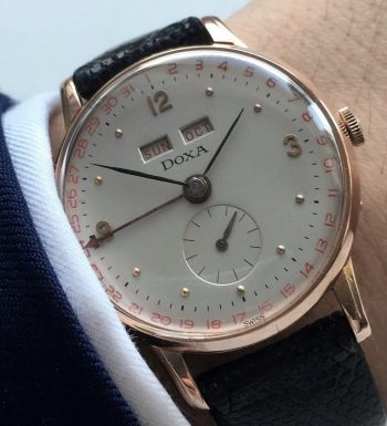 Solid Pink Gold Doxa Triple Calendar Watch  Tripple Date  Datora
