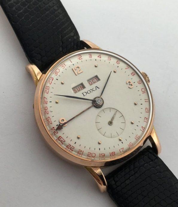 Solid Pink Gold Doxa Triple Calendar Watch  Tripple Date  Datora