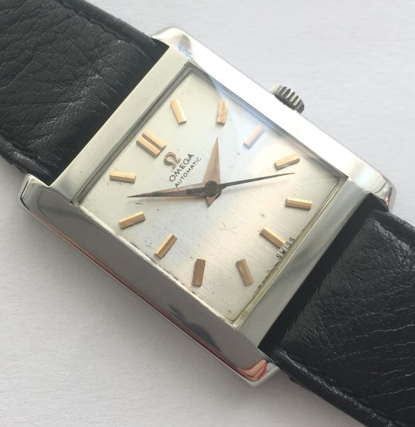 Art Deco Omega watch with linen dial