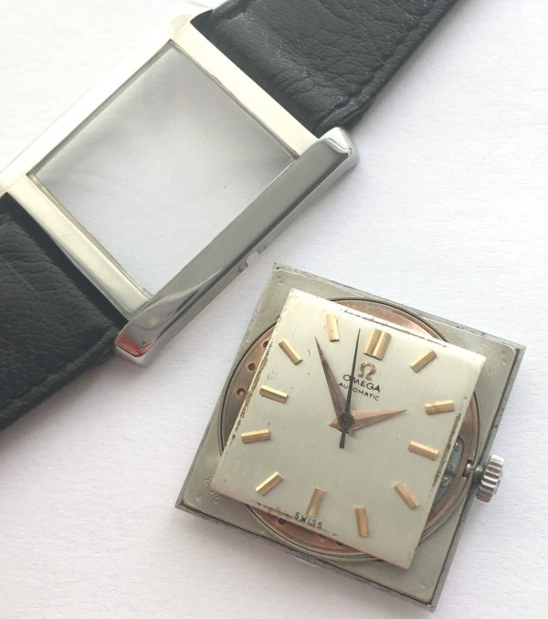 Art Deco Omega watch with linen dial Automatik