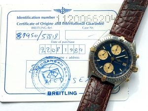 Breitling Chronomat with blue dial full set