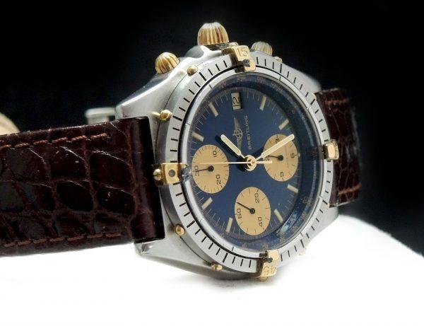 Breitling Chronomat with blue dial full set