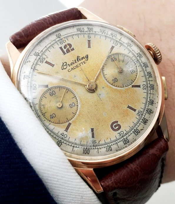 Breitling Vintage Chronograph in 18 carat solid PINK gold