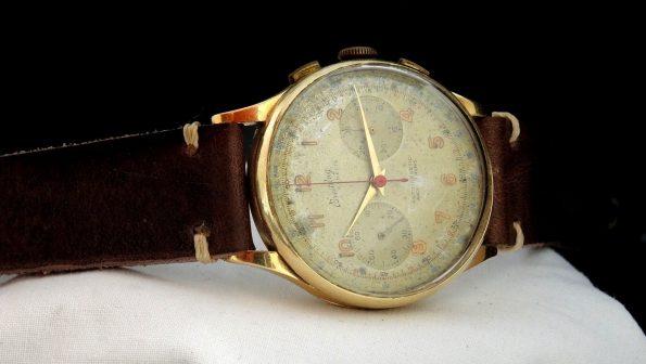38mm Oversize Breitling Chronograph Cadette 18ct pink solid gold Vintage