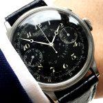 40mm black Enamel dial Eberhard Chronograph Breguet Numbers