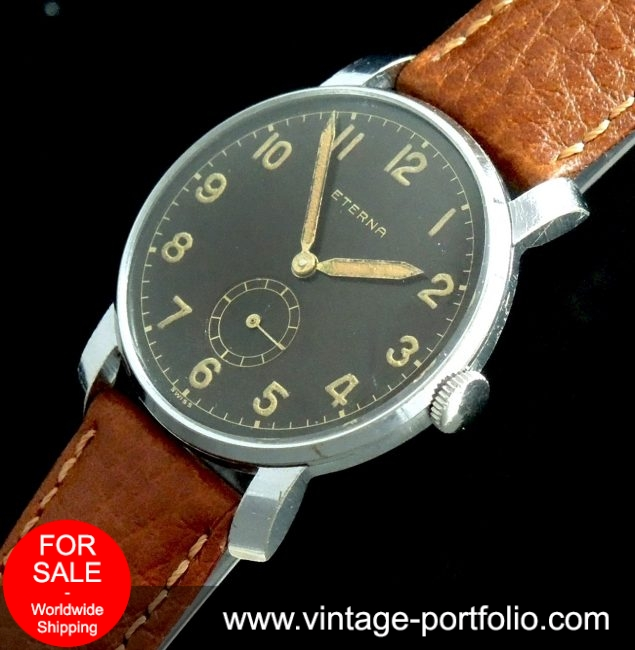 Amazing Vintage Military Eterna with black GILT dial