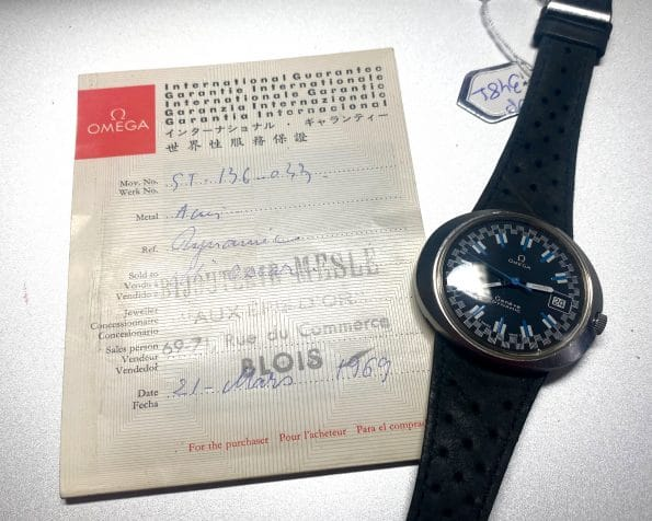 Omega Geneve Dynamic with very rare Black Racing Dial Original Papers