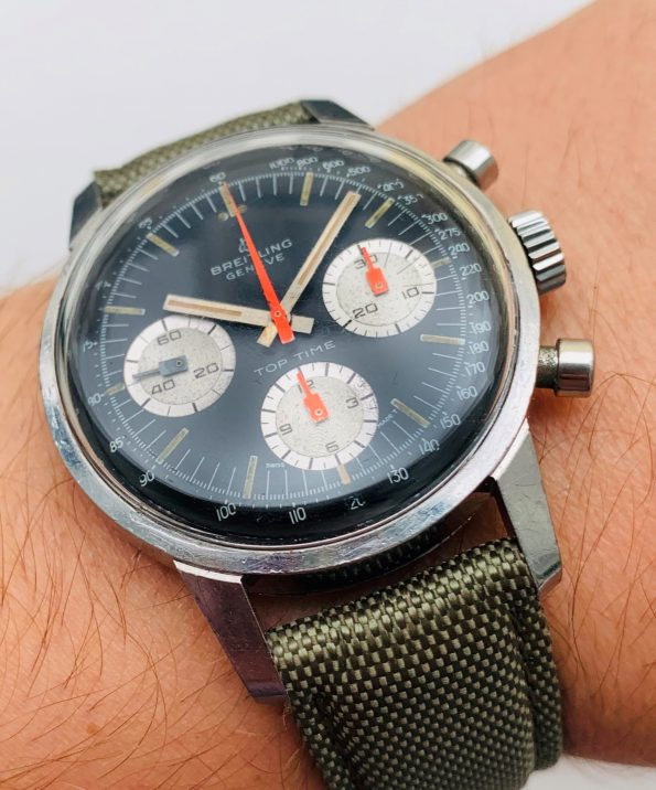 Vintage Breitling Top Time Edelstahl Reverse Panda Ziffernblatt 810 Vintage Chronograph