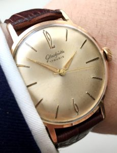Wunderful pink rose gold plated Glashütte Watch 36mm