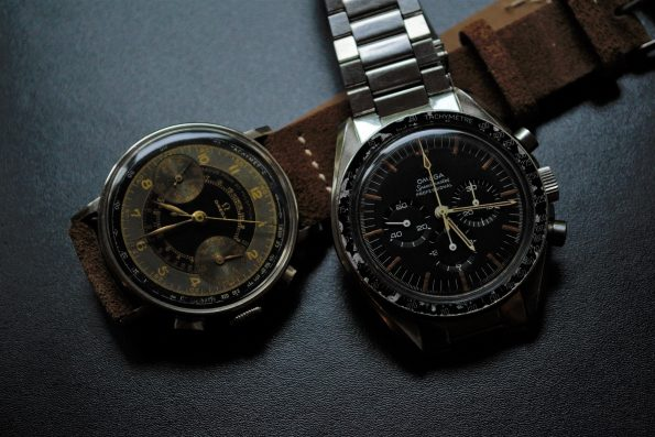 Vintage Omega 33.3 Chronograph Black Two Tone Chocolate Dial 1939