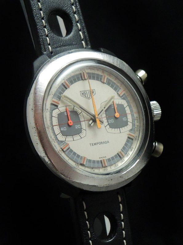 Heuer Temporada Vintage Chronograph Two Tone Dial