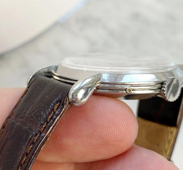 TEARDROP Lugged Vintage Jaeger LeCoultre Triple Date Salmon Dial