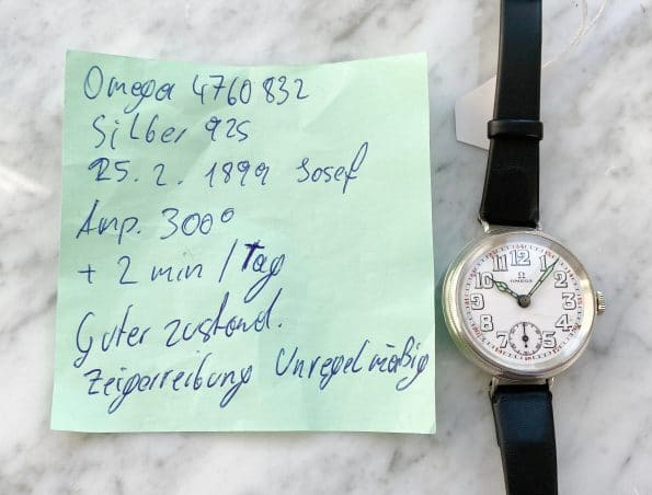 Vintage Omega WWII Handaufzug mit Porzellanziffernblatt und Silbergehäuse