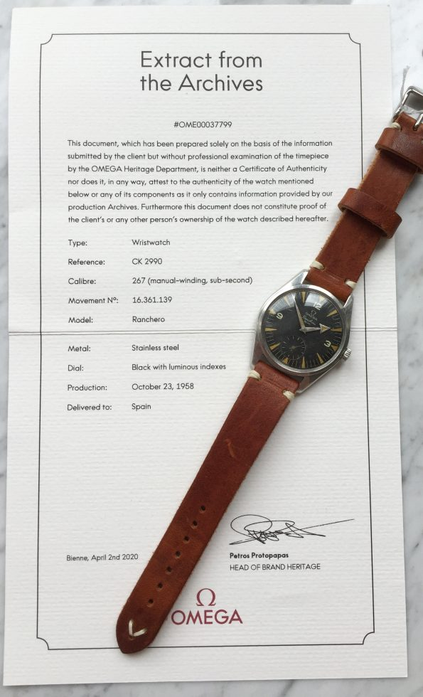 WITH EXTRACT Rare Omega Ranchero Vintage Broad Arrow