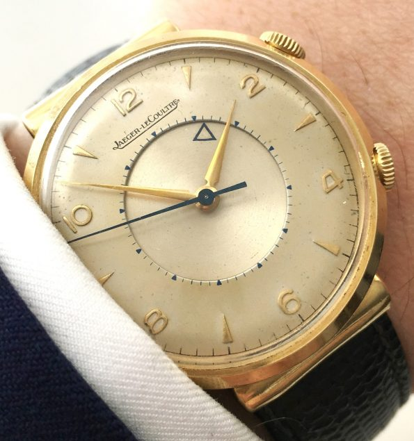 Rare Jaeger LeCoultre Memovox in Soid Gold with Hooded Lugs