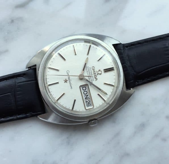 Top Omega Constellation C Shape Day Date Leinenziffernblatt