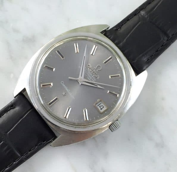 Great Grey Sunburst Dialed Omega Constellation C Shape