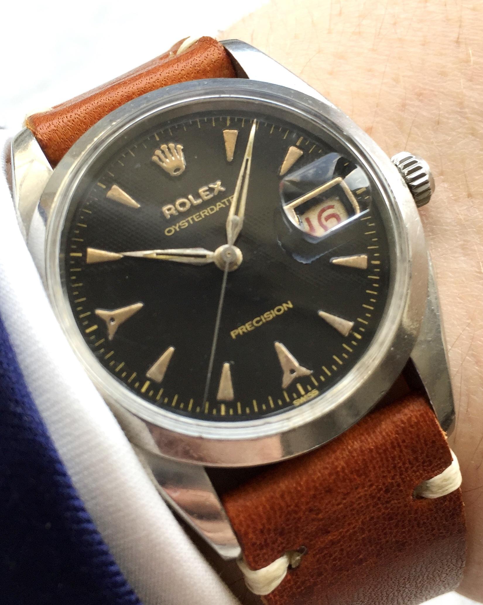 Vintage Rolex Honeycomb Dial Steel Ref 6494