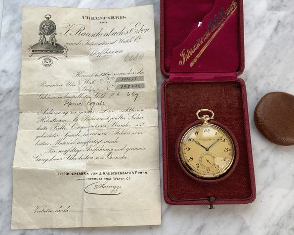 FULL SET IWC Solid Yellow Gold Pocket Watch with Box and Papers Pocket Watch Taschenuhr