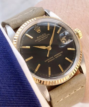 Beautiful Rolex Datejust Automatic UNRESTORED BLACK GILT dial Vintage