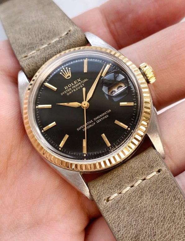 Beautiful Rolex Datejust Automatic UNRESTORED BLACK GILT dial Vintage