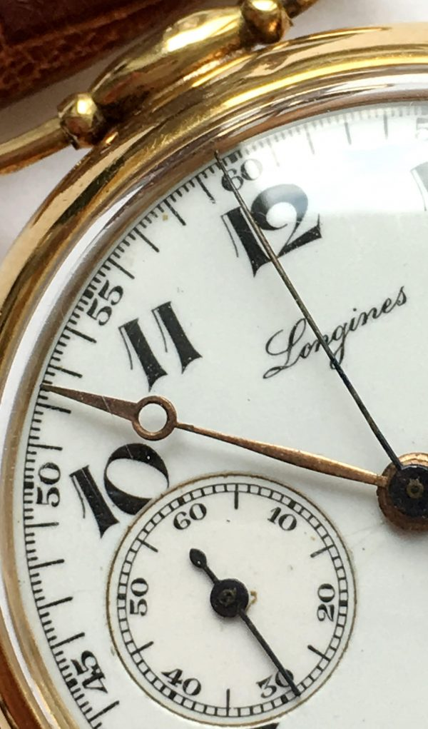 Exciting Longines One Pusher Chronograph in Solid Gold enamel