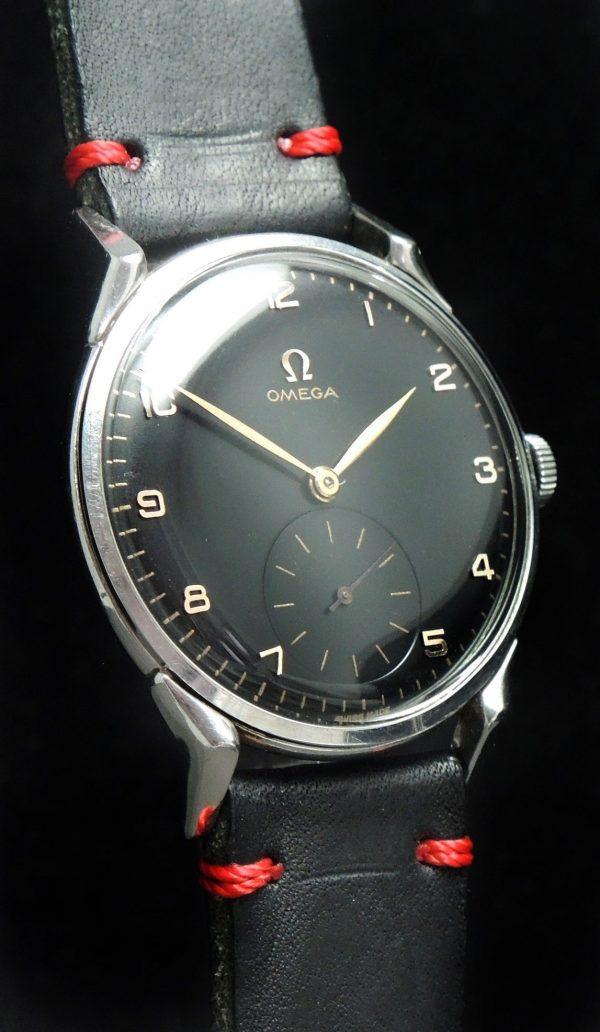 Serviced Omega 37mm Oversize Jumbo black dial Vintage