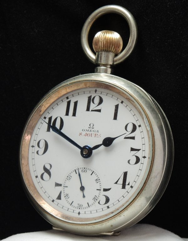 Huge Omega 8 Days Taschen uhr pocket watch 8 jours