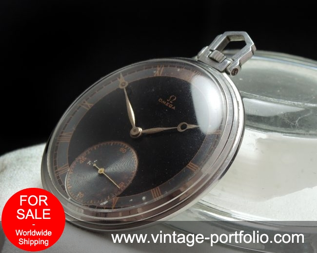 Omega Art Deco Pocket Watch with Black Two Tone Dial