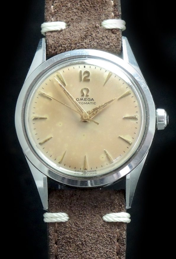 "Omega Automatic Ladieswith ""Pink Patina"" dial and Vintage Strap"