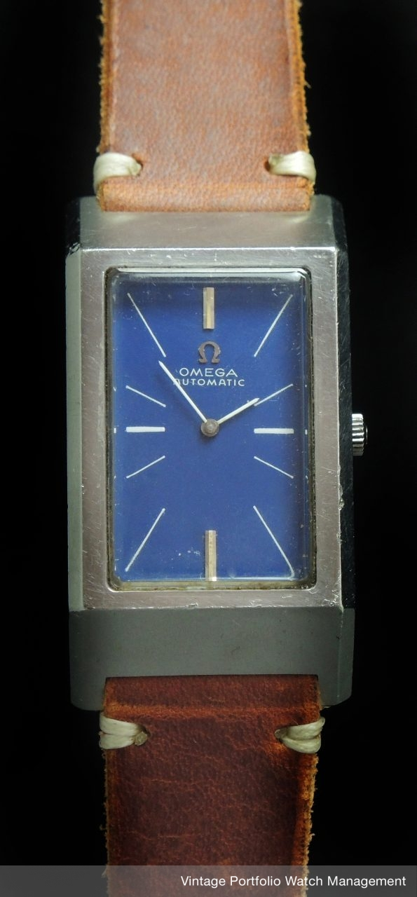 Beautiful Omega Automatic Tank blue dial Oversize Jumbo