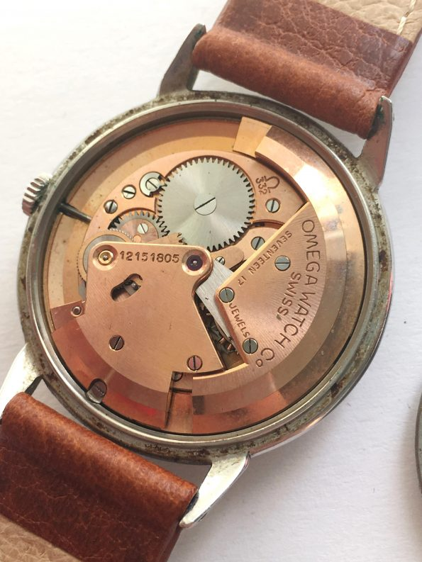 Serviced Omega Bumper Automatic Railtrack Honeycomb dial 50ties