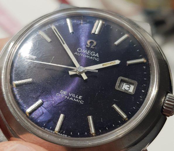 Original Omega Geneve De Ville with amazing blue Linen dial