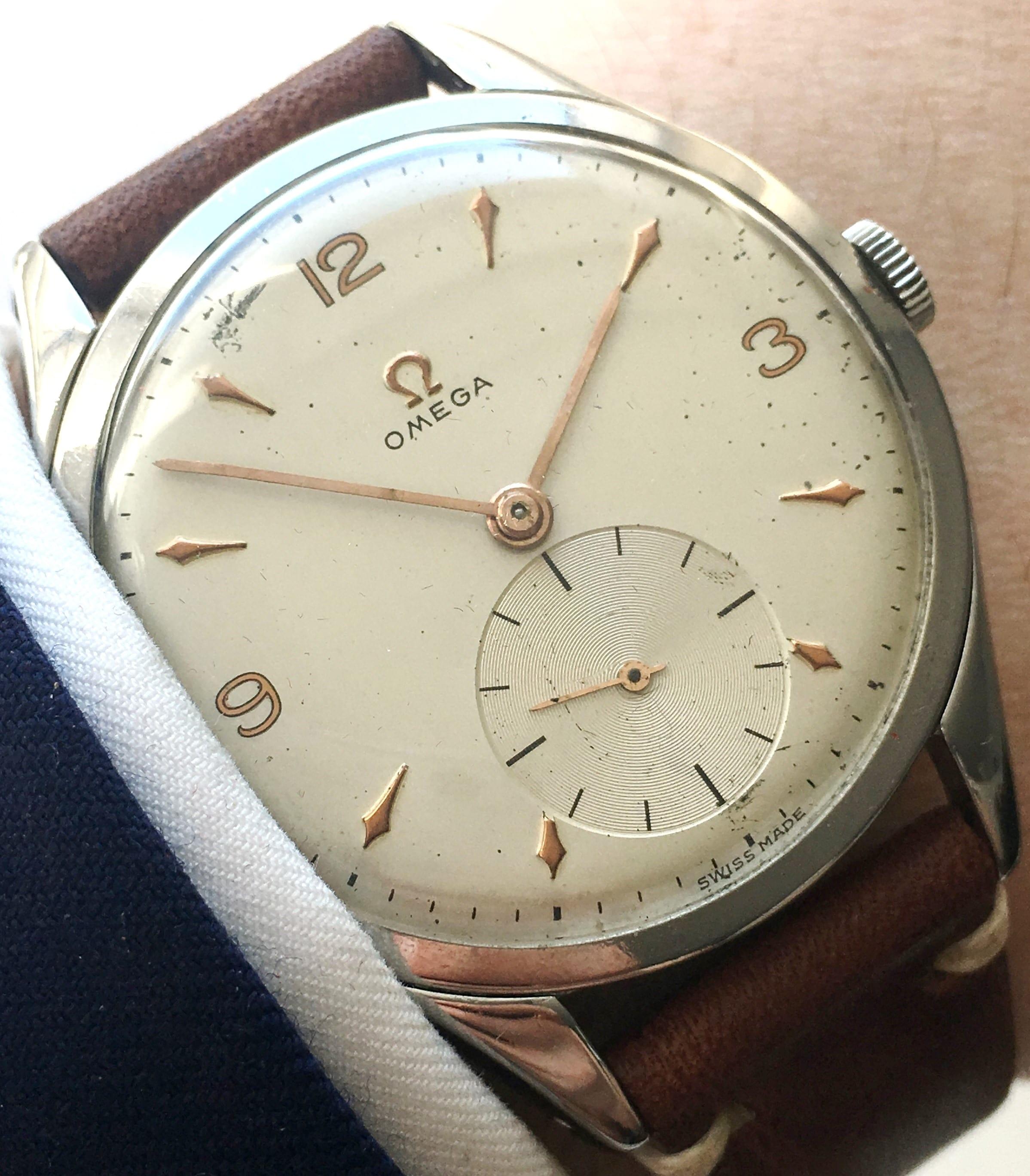 Schöne Omega 38mm Oversize Jumbo Uhr mit Vintage Ecru Band - Vintage Portfolio