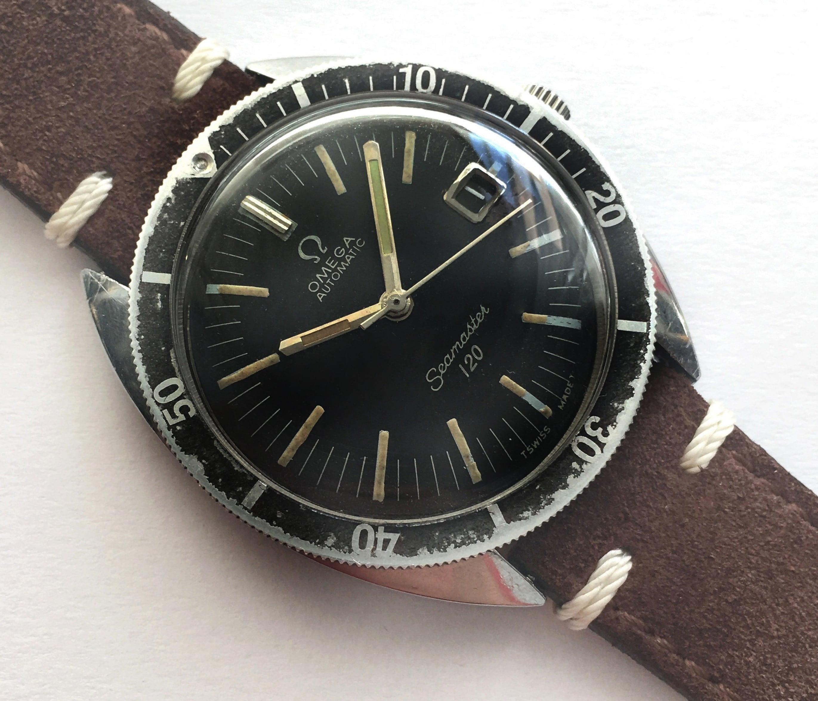 Omega seamaster 120 vintage diver automatic 37mm date vintage portfolio for Omega diver