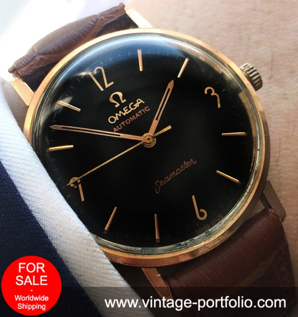 Pink Gold Plated Omega Seamaster  Automatic Automatik black dial