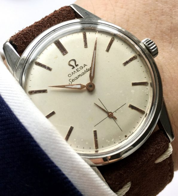 Serviced Omega Seamaster Watch with Vintage Ecru Strap
